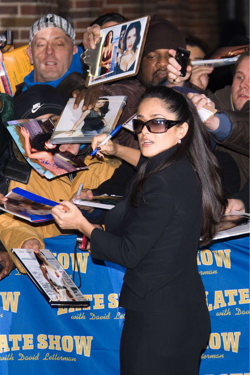 Salma Hayek arrives for a taping of the 'Late Show with David Letterman' in New York on Jan. 13, 2009, in New York.