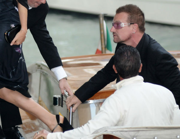 U2 lead singer Bono arrives for the wedding ceremony of actress Salma Hayek and Francois-Henri Pinault at 'La Fenice' theater, in Venice, Italy on April 25, 2009.