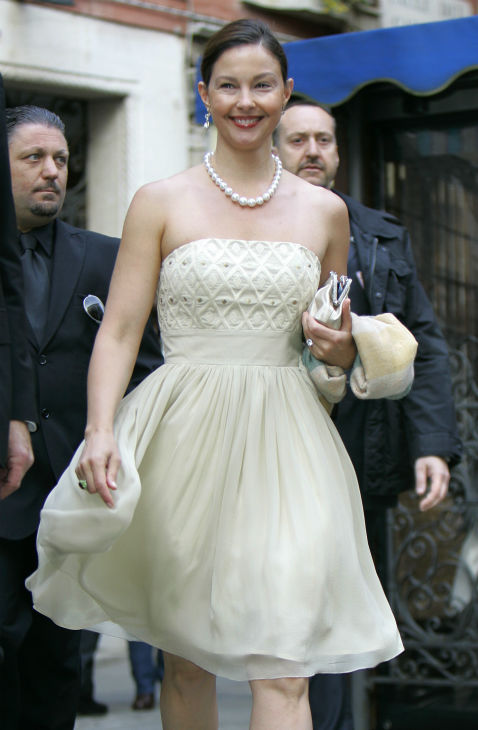 Ashley Judd arrives for the wedding ceremony of...