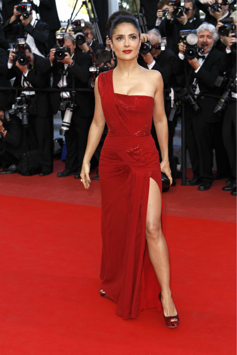 Salma Hayek arrives for the screening of 'Wall Street Money Never Sleeps' at the 63rd international film festival, in Cannes, southern France on May 14, 2010.