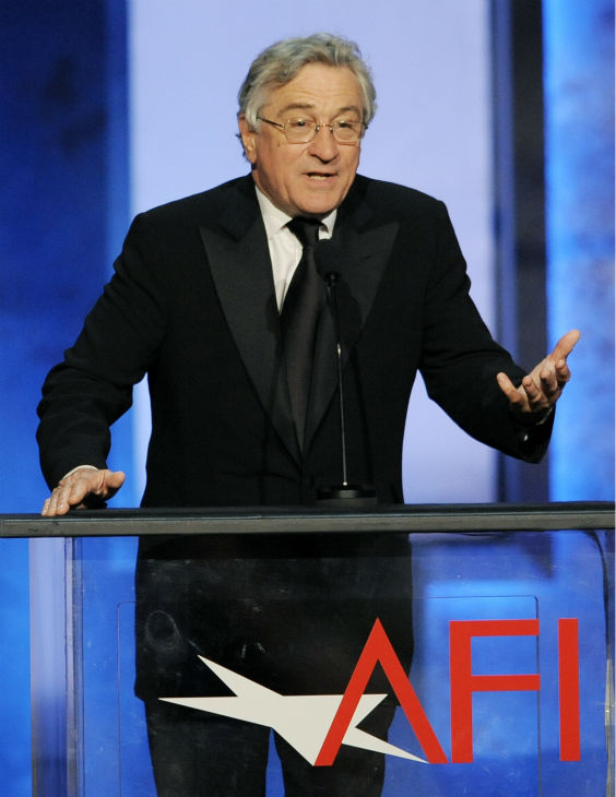 "<div class=""meta ""><span class=""caption-text "">Robert De Niro addresses the audience at the American Film Institute's 41st Lifetime Achievement Award Gala, honoring Mel Brooks, at the Dolby Theatre in Los Angeles on Thursday, June 6, 2013. (Chris Pizzello / Invision / AP)</span></div>"