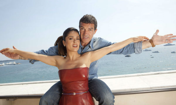 Salma Hayek, front, and Antonio Banderas, of 'Puss in Boots.' pose for a portrait at the 64th international film festival, in Cannes, southern France on May 11, 2011.