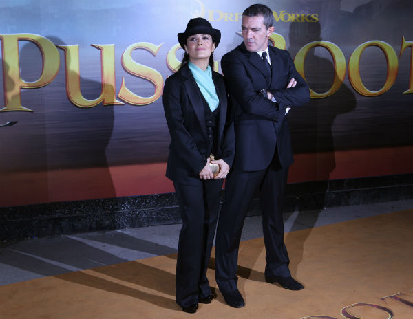 Antonio Banderas and Salma Hayek arrive for the UK Premiere of  DreamWorks Animation's  'Puss in Boots' in London on Nov. 24, 2011.