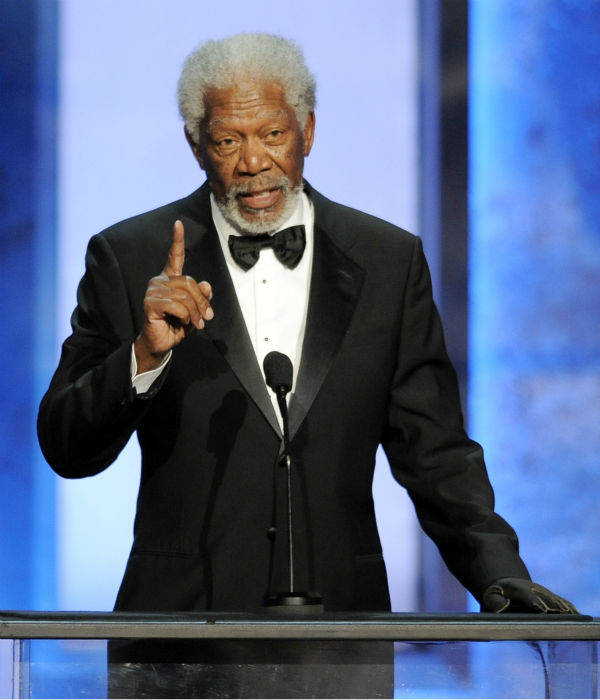 Morgan Freeman addresses the audience at the American Film Institute&#39;s 41st Lifetime Achievement Award Gala, honoring Mel Brooks, at the Dolby Theatre in Los Angeles on Thursday, June 6, 2013. <span class=meta>(Chris Pizzello &#47; Invision &#47; AP)</span>
