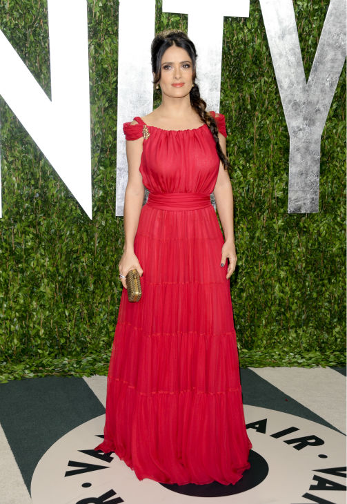 Salma Hayek arrives at the Vanity Fair Oscar party in West Hollywood, California on Feb. 26, 2012.