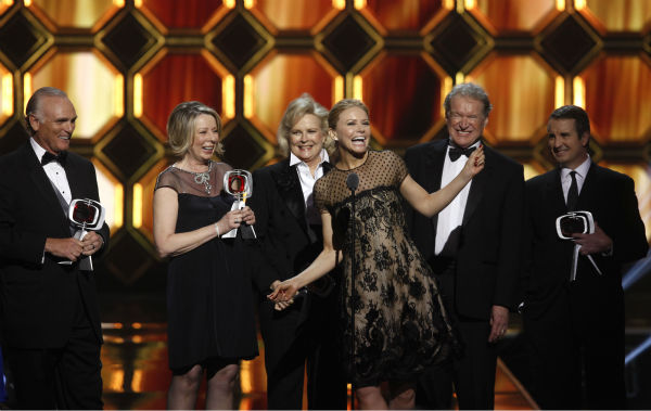 "<div class=""meta image-caption""><div class=""origin-logo origin-image ""><span></span></div><span class=""caption-text"">Joe Regalbuto, creator/executive producer Diane English, and actors Candice Bergen, Faith Ford, Charles Kimbrough and Grant Shaud of 'Murphy Brown' are honored with the Impact Award during the TV Land Awards on April 14, 2012 in New York. (AP Photo / Jason DeCrow)</span></div>"