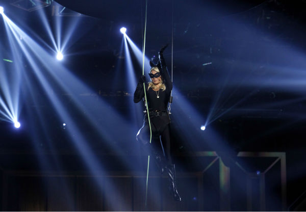 "<div class=""meta image-caption""><div class=""origin-logo origin-image ""><span></span></div><span class=""caption-text"">Kelly Ripa descends from the ceiling wearing a Catwoman costume as she hosts the TV Land Awards on April 14, 2012 in New York. The ceremony aired on the cable channel on April 29. (AP Photo / Jason DeCrow)</span></div>"