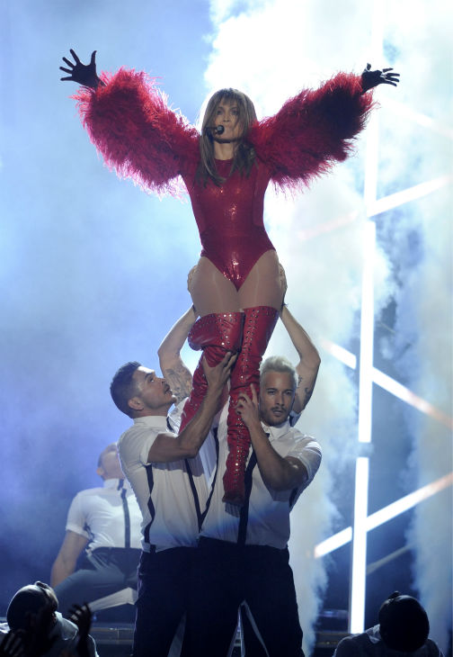 Jennifer Lopez is carried as she performs at the Billboard Music Awards at the MGM Grand Garden Arena in Las Vegas on Sunday, May 19, 2013.