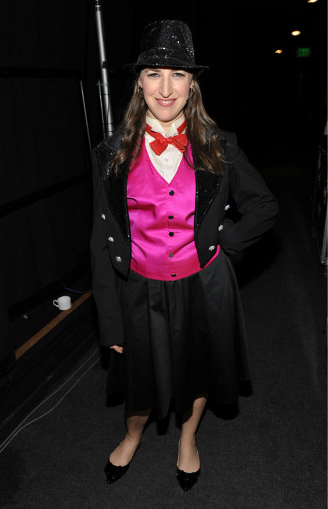 'The Big Bang Theory' actress Mayim Bialik poses backstage at the 21st Annual 'A Night at Sardi's' to benefit the Alzheimer's Association at the Beverly Hilton Hotel on Wednes