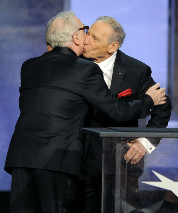"<div class=""meta image-caption""><div class=""origin-logo origin-image ""><span></span></div><span class=""caption-text"">Honoree Mel Brooks, right, embraces presenter Martin Scorsese as he accepts his award during the American Film Institute's 41st Lifetime Achievement Award Gala at the Dolby Theatre in Los Angeles on Thursday, June 6, 2013. (Chris Pizzello / Invision / AP)</span></div>"