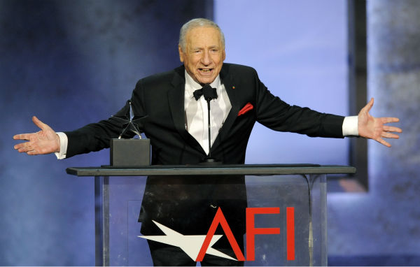 "<div class=""meta ""><span class=""caption-text "">Honoree Mel Brooks addresses the audience during the American Film Institute's 41st Lifetime Achievement Award Gala at the Dolby Theatre in Los Angeles on Thursday, June 6, 2013. (Chris Pizzello / Invision / AP)</span></div>"