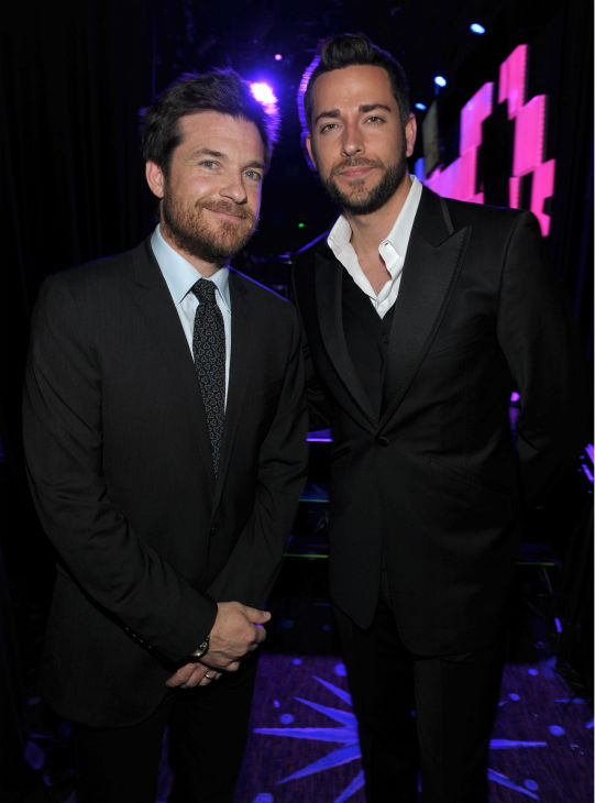 Jason Bateman, left, and Zachary Levi pose backstage at th