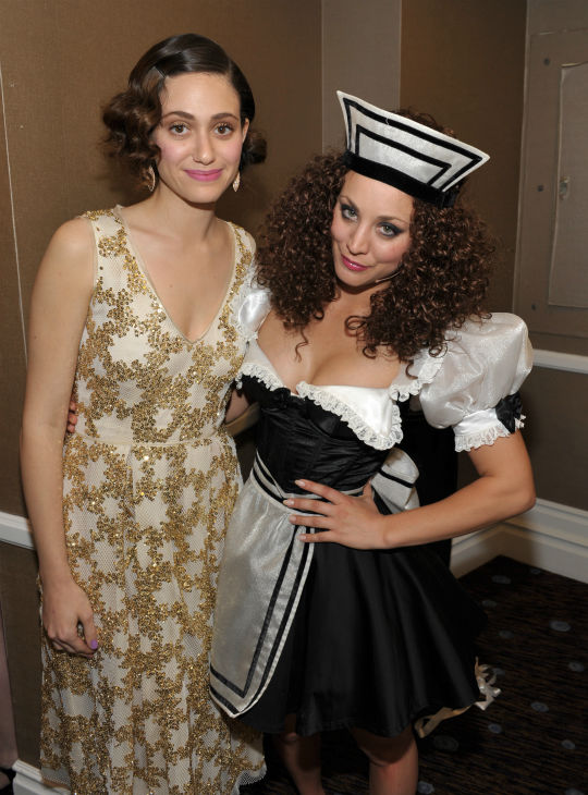 Emmy Rossum, left, and Kaley Cuoco pose backstage at the 21st Annual &#39;A Night at Sardi&#39;s&#39; to benefit the Alzheimer&#39;s Association at the Beverly Hilton Hotel on Wednesday, March 20, 2013 in Beverly Hills, California. <span class=meta>(John Shearer &#47; Invision for Alzheimer&#39;s Association &#47; AP Images)</span>