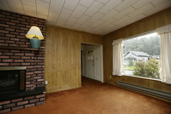 This photo taken on Sept. 23, 2013, shows the living room of the childhood home of Kurt Cobain, the late frontman of Nirvana, in Aberdeen, Washington.