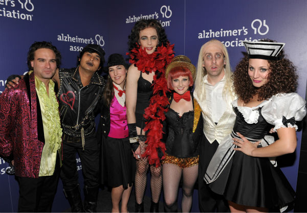 From left, actors Johnny Galecki, Kunal Nayyar, Mayim Bialik, Jim Parsons, Melissa Rauch, Simon Helberg and Kaley Cuoco, from the cast of &#39;The Big Bang Theory,&#39; pose backstage at the 21st Annual &#39;A Night at Sardi&#39;s&#39; to benefit the Alzheimer&#39;s Association at the Beverly Hilton Hotel on Wednesday, March 20, 2013 in Beverly Hills, California. <span class=meta>(John Shearer &#47; Invision for Alzheimer&#39;s Association &#47; AP Images)</span>