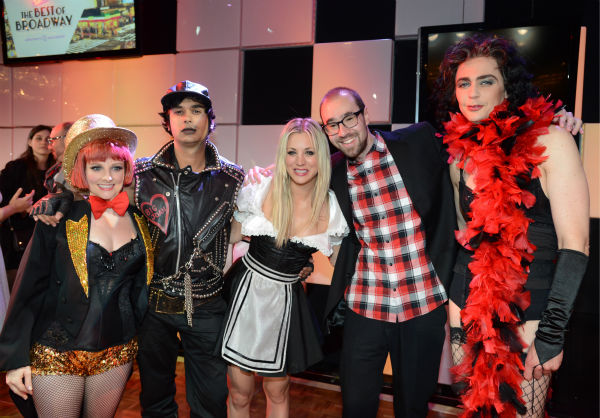 From left, actors Melissa Rauch, Kunal Nayyar, Kaley Cuoco, a guest, and actor