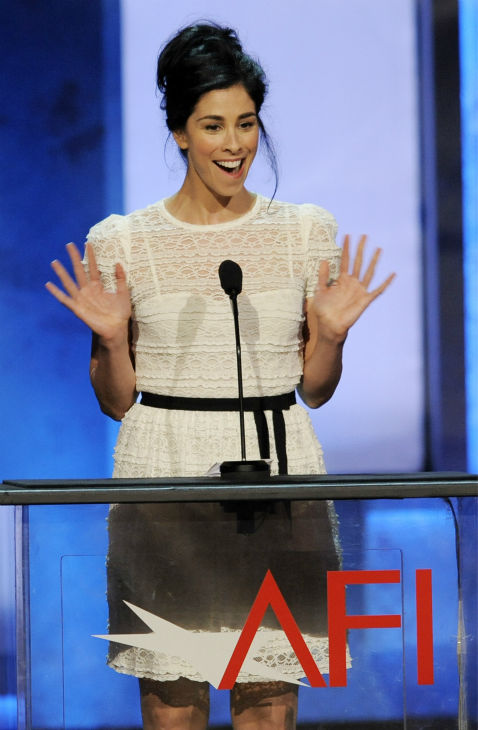 Comedian Sarah Silverman waves to honoree Mel Brooks during the American Film Institute&#39;s 41st Lifetime Achievement Award Gala at the Dolby Theatre in Los Angeles on Thursday, June 6, 2013. <span class=meta>(Chris Pizzello &#47; Invision &#47; AP)</span>