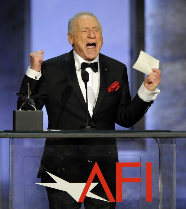 Honoree Mel Brooks speaks to the audience during the American Film Institute&#39;s 41st Lifetime Achievement Award Gala at the Dolby Theatre in Los Angeles on Thursday, June 6, 2013. <span class=meta>(Chris Pizzello &#47; Invision &#47; AP)</span>