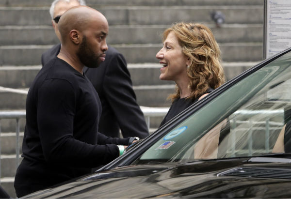 Actress Edie Falco arrives at the the Cathedral Church of Saint John the Divine ahead of the funeral service for James Gandolfini in New York on June 27, 2013. Gandolfini, who played Tony Soprano in the HBO show &#39;The Sopranos,&#39; died at age 51 while vacationing in Italy. Falco played his wife, Carmella, in the series. <span class=meta>(AP Photo &#47; Richard Drew)</span>
