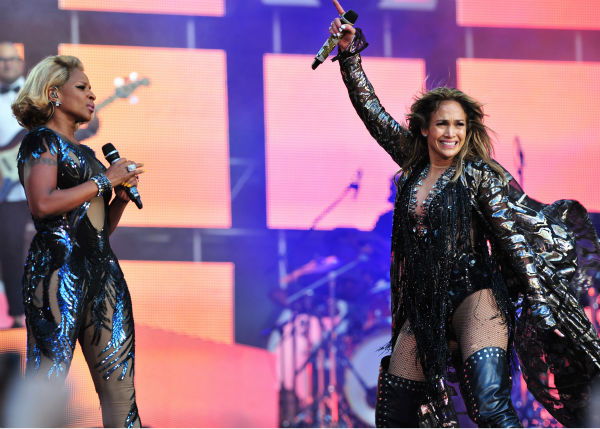 Mary J. Blige and Jennifer Lopez perform at the Sound of Change Live concert at Twickenham Stadium in London on Saturday, June 1, 2013.