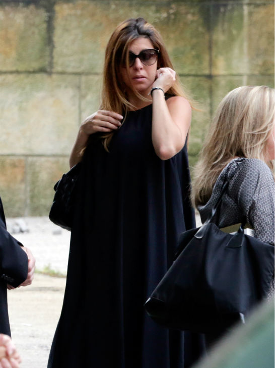 Actress Jamie Lynn Sigler, center, arrives at the Cathedral Church of Saint John the Divine for the funeral service for James Gandolfini in New York on June 27, 2013. Gandolfini, who played Tony Soprano in the HBO show &#39;The Sopranos,&#39; died at age 51 while vacationing in Italy. Sigler played his daughter, Meadow, in the series. <span class=meta>(AP Photo &#47; Richard Drew)</span>