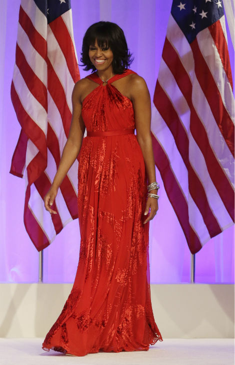First Lady Michelle Obama arrives at the Commander-in-Chief&#39;s Inaugural Ball at the 57th Presidential Inauguration in Washington on Jan. 21, 2013. <span class=meta>(AP Photo &#47; Jacquelyn Martin)</span>