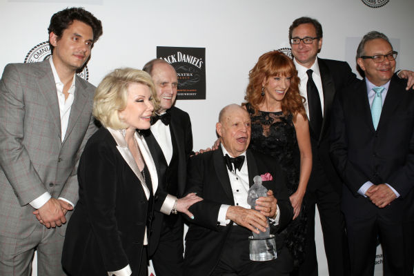 Musician John Mayer, left, comedienne Joan Rivers, comedian Bob Newhart, honoree Don Rickles, comedienne Kathy Griffin, Actor Bob Saget and comedian Lewis Black pose for photos at the Friars Club event honoring Don Rickles, 87, at the Waldorf Astoria in New York on Monday, June 24, 2013. <span class=meta>(Greg Allen &#47; Invision &#47; AP)</span>