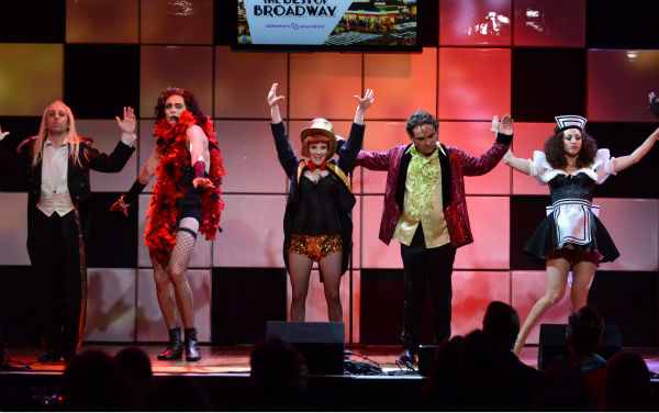 From left, actors Simon Helberg, Jim Parsons, Melissa Rauch, Johnny Galecki and Kaley Cuoco, from the cast of 'The Big Bang Theory,' perform at 'A Night at Sardi's' benefit for the Alzheimer's Association at the Bev