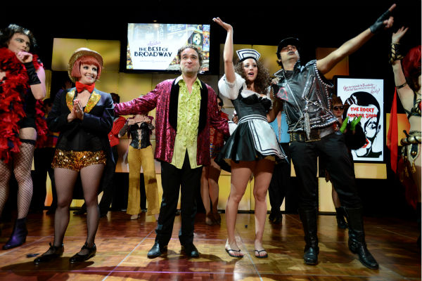 From left, actors Jim Parsons, Melissa Rauch, Johnny Galecki, Kaley Cuoco and Kunal Nayyar, from the cast of 'The Big Bang Theory' perform 'The Time Warp' from 'The Rocky Horror Picture Show' at the 21st Annual 'A Night at Sardi's