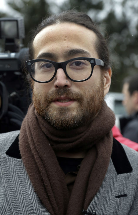 Sean Lennon appears at a news conference during...