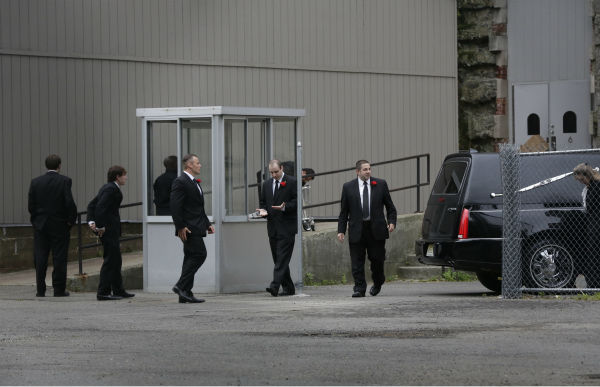 A hearse arrives at Cathedral Church of Saint John the Divine before the funeral service of James Gandolfini in New York on June 27, 2013. Gandolfini, who played Tony Soprano in the HBO show &#39;The Sopranos,&#39; died at age 51 while vacationing in Italy. <span class=meta>(AP Photo &#47; Richard Drew)</span>