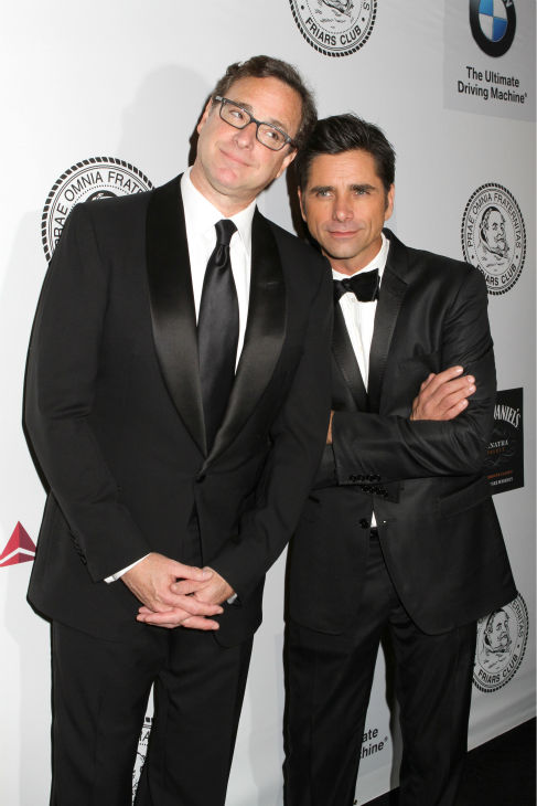 Actors Bob Saget and fellow &#39;Full House&#39; alum John Stamos pose for photos at the Friars Club event honoring legendary insult comic Don Rickles, 87, at the Waldorf Astoria in New York on Monday, June 24, 2013. <span class=meta>(Greg Allen &#47; Invision &#47; AP)</span>