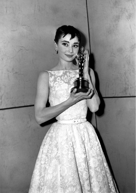 Oscar-winner Audrey Hepburn poses with her statuette at the 26th Annual Academy Awards ceremony in New York on March 25, 1954.  Hepburn won for best actress for her portrayal in 'Roman Holiday.'