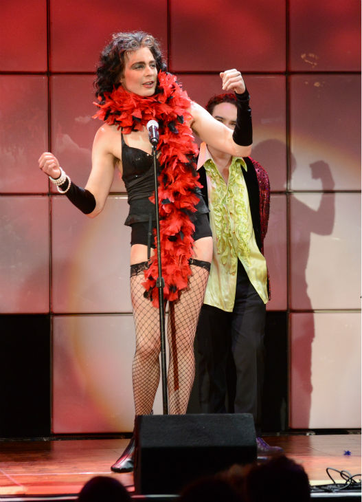 'The Big Bang Theory' Jim Parsons, dressed as Frank-N-Furter from 'The Rocky Horror Picture Show,' performs at the 21st Annual 'A Night at Sardi's' to benefit the Alzheimer's Association at the Beverly H