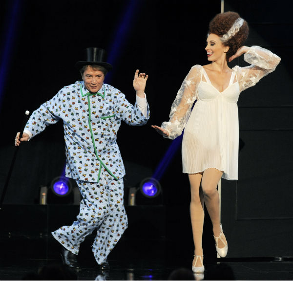 Comedian Martin Short, left, and a dancer perform a musical tribute to the Mel Brooks-directed film &#39;Young Frankenstein&#39; during the American Film Institute&#39;s 41st Lifetime Achievement Award Gala, honoring Brooks, at the Dolby Theatre in Los ANgeles on Thursday, June 6, 2013. <span class=meta>(Chris Pizzello &#47; Invision &#47; AP)</span>