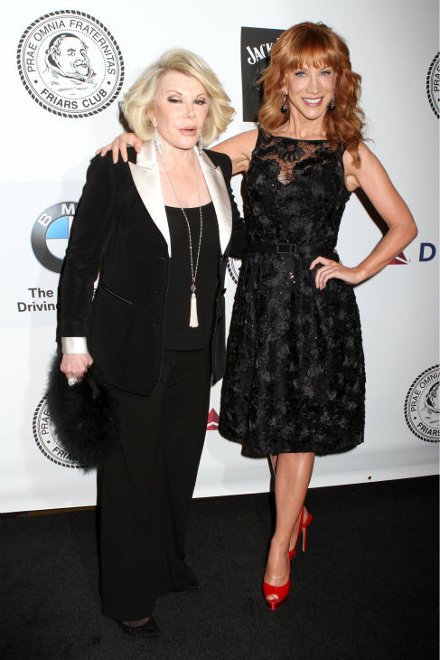 Comediennes Joan Rivers and Kathy Griffin pose for photos at the Friars Club event honoring legendary insult comic Don Rickles, 87, at the Waldorf Astoria in New York on Monday, June 24, 2013. <span class=meta>(Greg Allen &#47; Invision &#47; AP)</span>