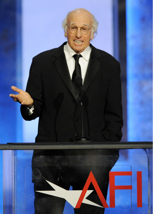 "<div class=""meta ""><span class=""caption-text "">Larry David, star of 'Curb Your Enthusiasm' and co-creator of 'Seinfeld,' addresses the audience at the American Film Institute's 41st Lifetime Achievement Award Gala, honoring Mel Brooks, at the Dolby Theatre in Los Angeles on Thursday, June 6, 2013. (Chris Pizzello / Invision / AP)</span></div>"
