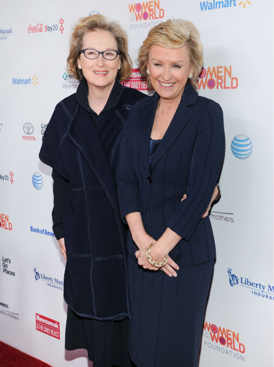 Meryl Streep, left, and Tina Brown, editor-in-chief of The Daily Beast and Newsweek, attend the 4th annual Women in the World Summit at the David H. Koch Theater on April 4, 2013 in New York.