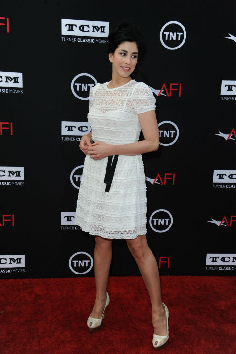 "<div class=""meta ""><span class=""caption-text "">Sarah Silverman walks the red carpet at the American Film Institute's 41st Lifetime Achievement Gala, honoring Mel Brooks, at the Dolby Theatre in Los Angeles on Thursday, June 6, 2013. (Katy Winn / Invision / AP)</span></div>"