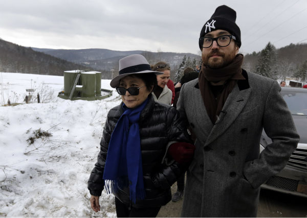 Yoko Ono, left, and her son Sean Lennon visit a fracking site in Franklin Forks, Pennsylvania on Jan. 17, 2013.