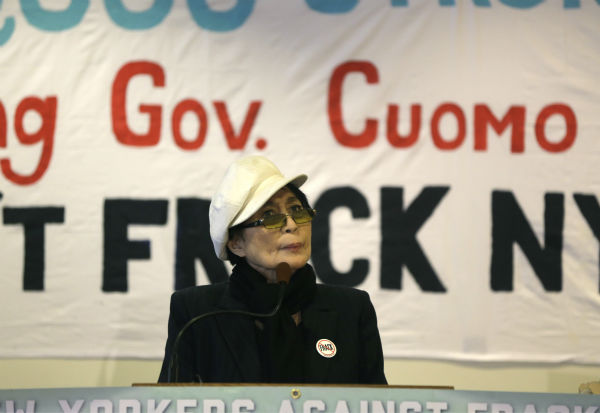Yoko Ono speaks during a news conference opposing hydraulic fracturing on Jan. 11, 2013, in Albany, New York. Environmental, health and community groups opposed to shale gas drilling and hydraulic fracturing, or &#39;fracking,&#34;&#39;say they collected more than 200,000 comments during an intense 30-day effort featuring online coaching and comment-writing workshops at churches, community centers, food co-ops, coffee shops and holiday house parties from New York City to Buffalo.  <span class=meta>(AP Photo &#47; Mike Groll)</span>