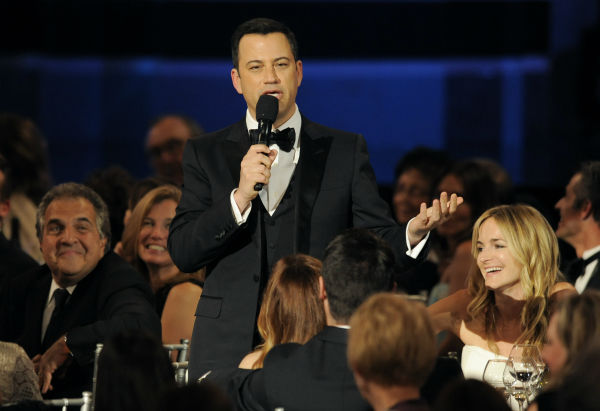 ABC talk show host Jimmy Kimmel delivers a testimonial to honoree Mel Brooks during the American Film Institute&#39;s 41st Lifetime Achievement Award Gala, honoring Mel Brooks, at the Dolby Theatre in Los Angeles on Thursday, June 6, 2013. <span class=meta>(Chris Pizzello &#47; Invision &#47; AP)</span>
