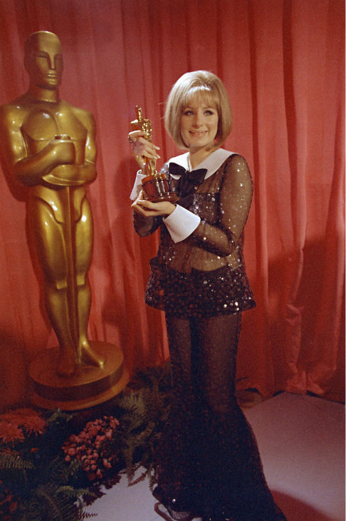 Barbra Streisand wins an Oscar for her performance in &#39;Funny Girl&#39; on April 14, 1969 in Hollywood, California. <span class=meta>(AP Photo &#47; George Birch)</span>