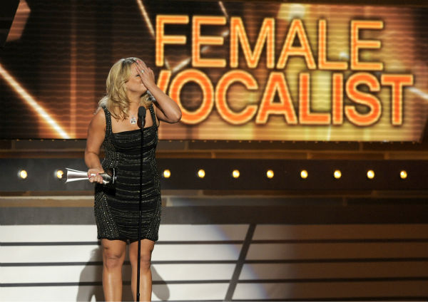 Miranda Lambert gets emotional after being named Female Vocalist of the Year at the 48th annual Academy of Country Music &#40;ACM&#41; Awards. The ceremony was co-hosted by Luke Bryan and Blake Shelton and was broadcast live from the MGM Grand Garden Arena in Las Vegas on CBS on Sunday, April 7, 2013. <span class=meta>(Chris Pizzello &#47; Invision &#47; AP)</span>