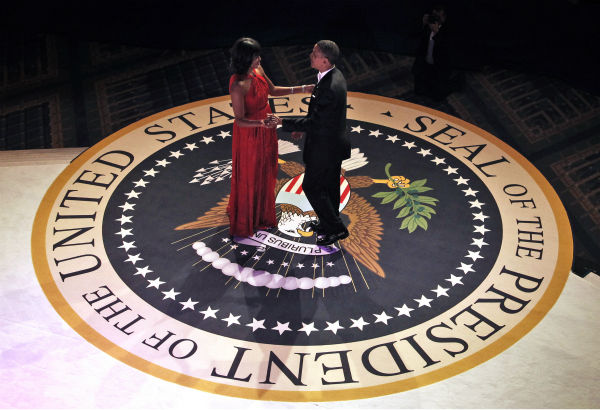 President Barack Obama and First Lady Michelle Obama dance together at the Commander-in-Chief&#39;s Inaugural Ball in Washington, at the Washington Convention Center during the 57th Presidential Inauguration on Jan. 21, 2013. <span class=meta>(AP Photo &#47; Pablo Martinez Monsivais, Pool)</span>