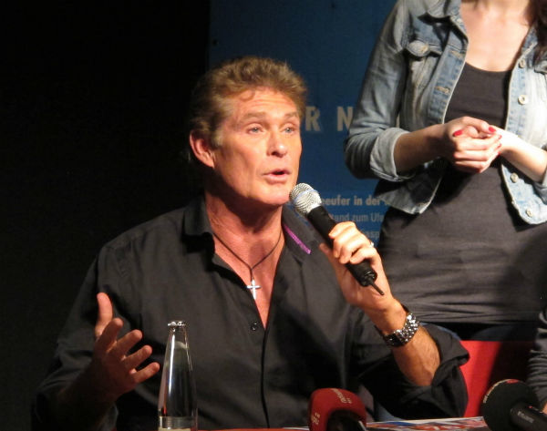 David Hasselhoff speaks at an event in Berlin, Germany on Sunday, March 17, 2013, protesting attempts to remove a section of the East Side Gallery, a historic part of former Berlin Wall. Hasselhoff is fondly remembered by many Germans for releasing a song called &#39;Looking for Freedom&#39; shortly before the fall of the Wall in 1989. <span class=meta>(AP Photo &#47; Frank Jordans)</span>