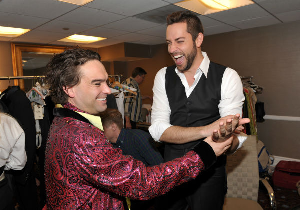 Johnny Galecki, left, and Zachary Levi pose backstage at the 21st annual 'A Night at Sardi's' benefit for the Alzheimer's Association