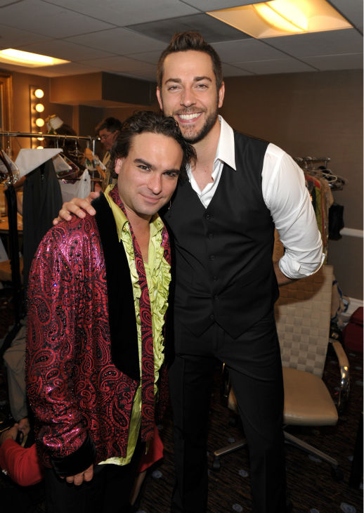 Johnny Galecki, left, and Zachary Levi pose backstage at