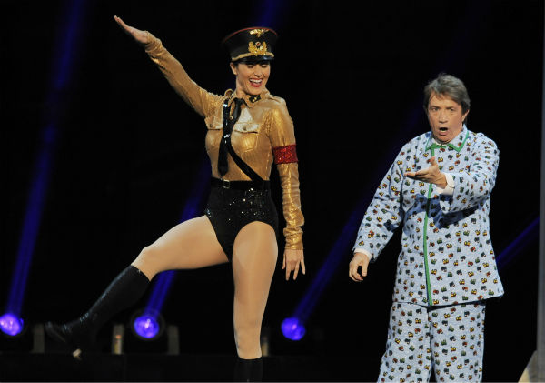 Martin Short, right, and a dancer perform a musical tribute to Mel Brooks&#39; film &#39;The Producers&#39; during the American Film Institute&#39;s 41st Lifetime Achievement Award Gala, honoring Brooks, at the Dolby Theatre in Los Angeles on Thursday, June 6, 2013. <span class=meta>(Chris Pizzello &#47; Invision &#47; AP)</span>