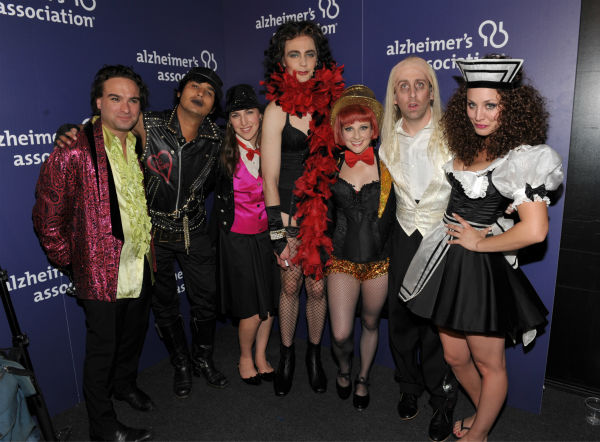 The cast of &#39;The Big Bang Theory&#39; &#40;From left, actors Johnny Galecki, Kunal Nayyar, Mayim Bialik, Jim Parsons, Melissa Rauch, Simon Helberg and Kaley Cuoco&#41; at the 21st Annual &#39;A Night at Sardi&#39;s&#39; to benefit the Alzheimer&#39;s Association at the Beverly Hilton Hotel on Wednesday, March 20, 2013 in Beverly Hills, California. <span class=meta>(&#47; Invision for Alzheimer&#39;s Association &#47; AP Images)</span>